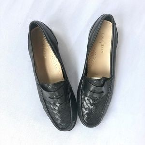 COLE HAAN Basket Weave Loafers Black Leather 8 B